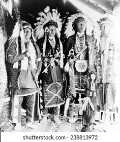 Four Nez Perc_ Indians, dressed for dance, on Colville Indian Reservation, ca. 1910