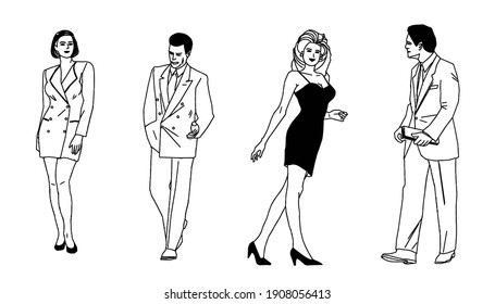 Four people, men and women in fashionale clothes.