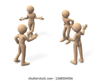 Four people who gather and talk. Some are arbitrating. Another person is jealous. White background. 3D illustration.