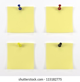 Four post it with red push pins