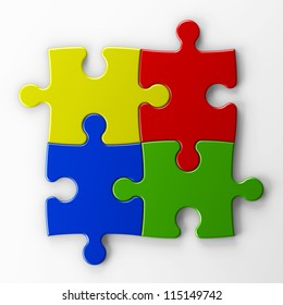 four puzzle pieces with clipping path