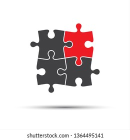 Four puzzle pieces, one red and three gray, abstract symbol icon isolated on a white background, flat design style