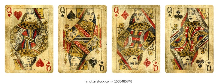 Four Queens Vintage Playing Cards - isolated on white