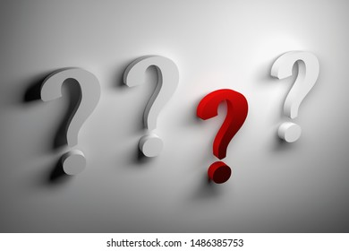 Four question marks and one red on white background. 3d illustration.