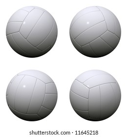 Four randomly rotated volleyballs over white