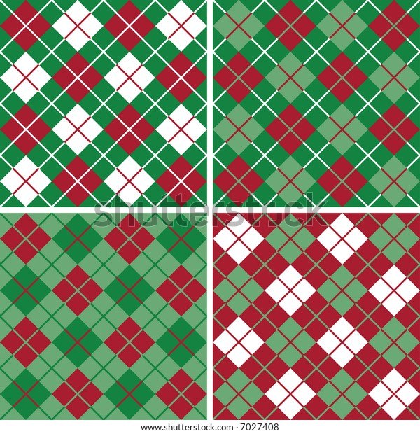 "Four seamless 6"" repeating argyle patterns in holiday red, green and white."
