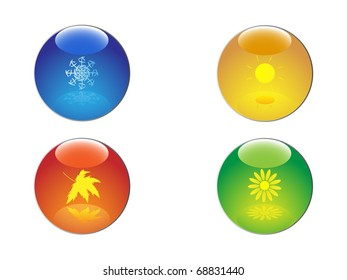 Four seasons icon set. Raster illustration.