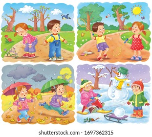 Four seasons. Spring, summer, autumn, winter. Cute boy and girl are playing outdoors. Kids in the park. Coloring page. Illustration for children. Cute and funny cartoon characters.
