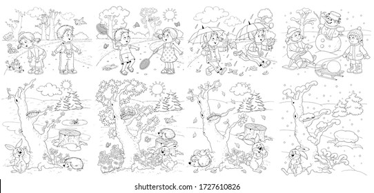 Four seasons. Spring, summer, autumn, winter. Set of 8 pictures. Cute boy and girl are playing outdoors. In the forest. Coloring book. Poster. Illustration for children. Cartoon characters