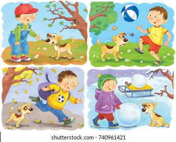 Four seasons. Spring, summer, autumn and winter. Illustration for children. Coloring book. Coloring page. A cute boy and his puppy. Funny cartoon characters.