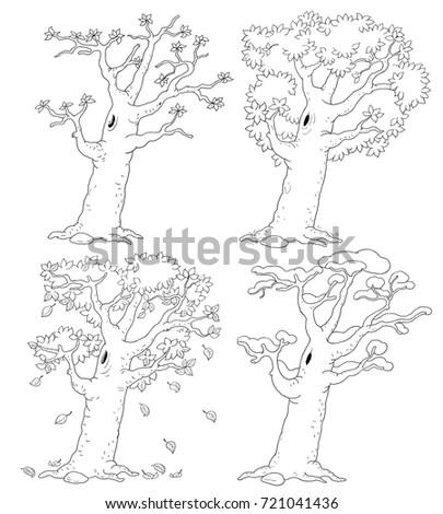 Four Seasons Spring Summer Autumn Winter Stock Illustration
