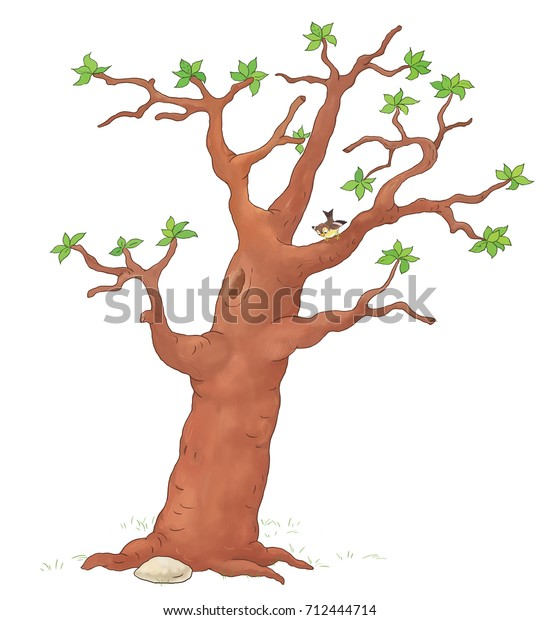 Four Seasons Spring Tree Coloring Page Stock Illustration 712444714