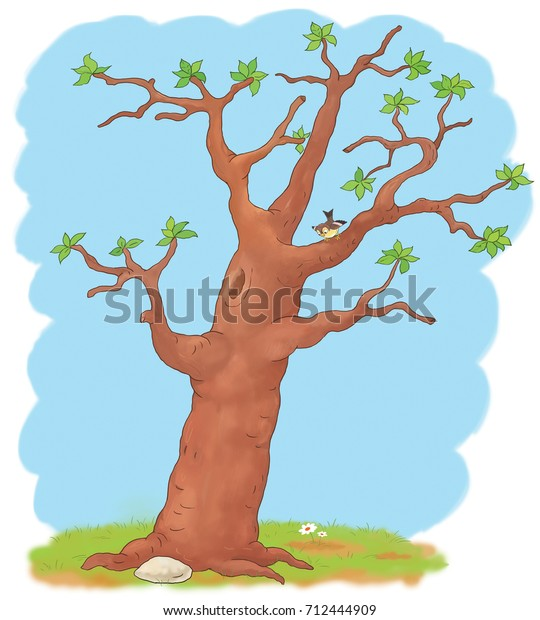 Four Seasons Spring Tree Coloring Page Stock Illustration ...