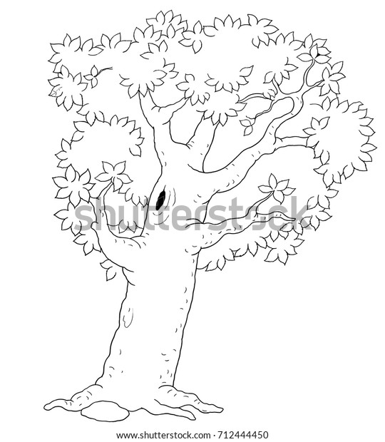 Four Seasons Summer Tree Coloring Page Stock Illustration ...