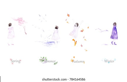 Four Seasons - winter, spring, summer, autumn. Watercolor illustration. Background with girl and four seasons.