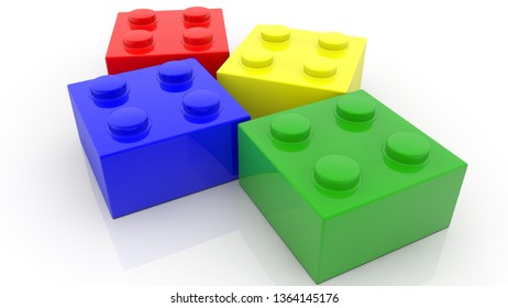 Four small colorful toy bricks on white.3d illustration