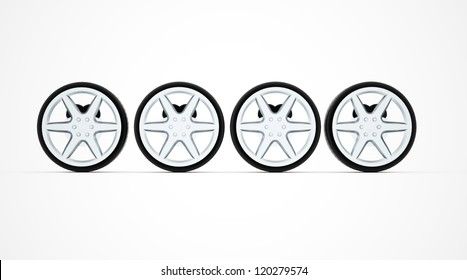 Four sport car wheel isolated on white background