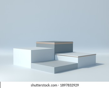 Four square box of product display, Light blue and golden colors, Luxury and minimal concept, Showcase, Stand, Stage, Backdrop, 3D Rendering.
