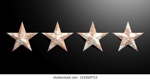 Four stars with American military pattern isolated on black background. 3d illustration