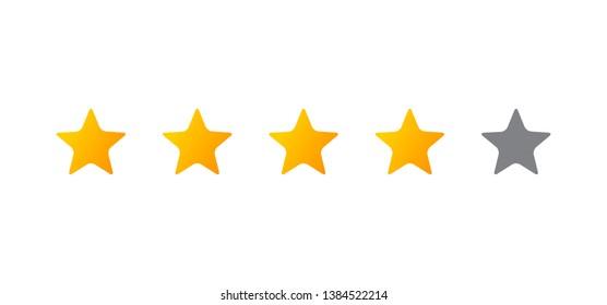 Four stars icon on white. illustration