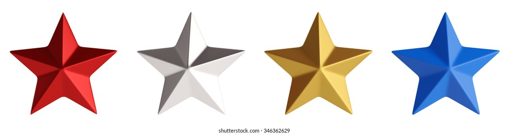 Four stars,red, silver, golden and blue isolated over white 3d rendering