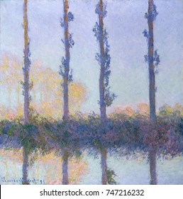 The Four Trees, by Claude Monet, 1891, French impressionist painting, oil on canvas. Monet painted this from a boat in the Epte River. As with his Haystack and Rouen Cathedral series, he created sever