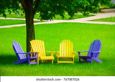 Four vacant Adirondack chairs, two dark blue and two yellow, under a shade tree on green lawn near sidewalks on college campus, with digital painting effect