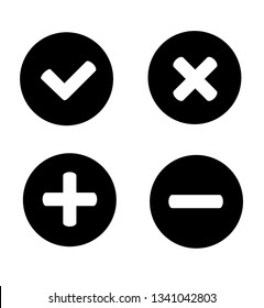 Four Validation Stickers/Plus Minus/Check Mark/Close Button/Error Message/Lester X Icon set