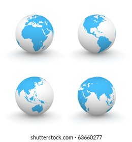 four views of a 3D globe with blue continents and a white ocean