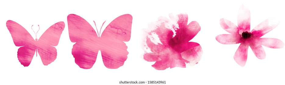 Four watercolor flowers and butterflies on white. Set