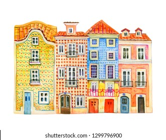 Four watercolor old stone Europe houses. Portugal architecture. Facades of Lisbon buildings in a row. Hand drawn cartoon  illustration on white background