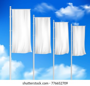 Four white blank pole flags set template for outdoor decor sale event advertisement sky background  illustration