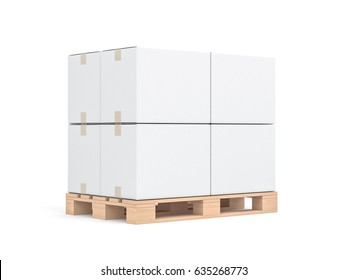 Four White cardboard boxes mockup on wooden euro pallet, 3d rendering