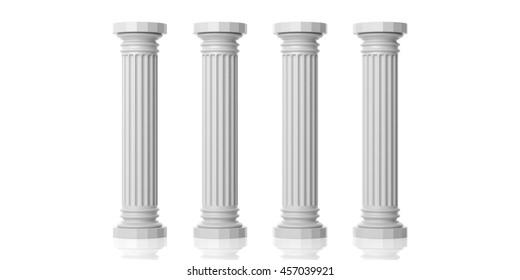Four white marble pillars on white background. 3d illustration