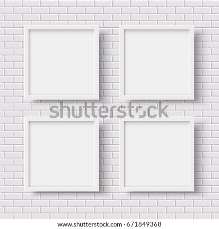 Four White Square Empty Frames On Stock Illustration - Royalty Free ...
