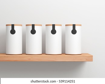 Four White Tin Can Mockup with black label sticker on wooden shelf. Cylindrical packaging, 3d rendering