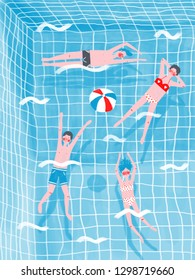 Four women and men swimming in pool and playing with ball.