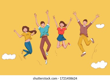 Four young men and women are jumping and cheering.Young people who are happy to celebrate.Illustration
