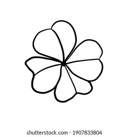 Four-leaf clover simple illustration on white isolated background
