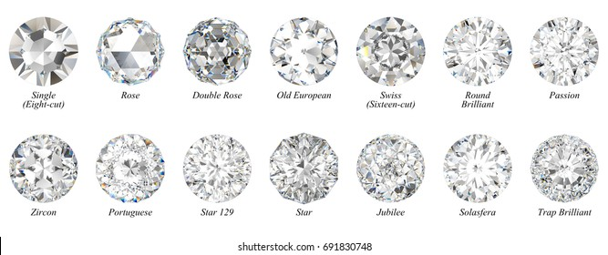 Fourteen round shape diamond cuts: Rose, Old European, Zircon, Portuguese, Standard Round Brilliant etc. Close-up top view with titles, isolated on white background. 3D rendering illustration.