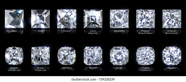 Fourteen various square and cushion shaped diamond cut styles with names, close-up top view isolated on black background. 3D rendering illustration