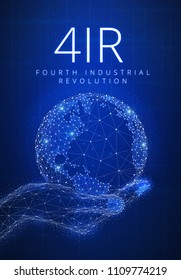 Fourth industrial revolution futuristic hud background with glowing polygon world globe in a hand, blockchain peer to peer network and title 4IR. Global cryptocurrency business finance banner concept.