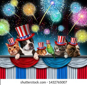 Fourth of July pet celebration and Independence day pets celebrating the United States national federal holiday with dog puppy cat and kitten including bird and hamster with 3D illustration elements.
