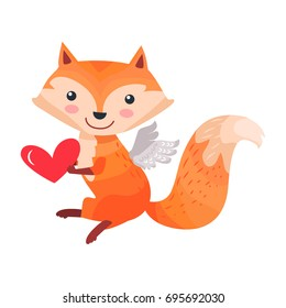 Fox with angel wings holds red heart in paws isolated on white. Sexy vixen with bushy tail. Cute cartoon animal post card design. Valentines day concept  illustration in flat style