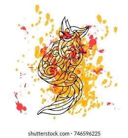 Fox illustration. Doodle style. Design, print, logo, decor, textile, paper.