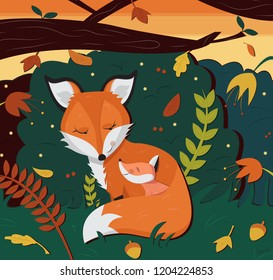 Fox Mom and Baby Snuggle in the Woods