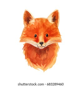 Fox painted watercolor on a white background. Red fox. Forest beast. Children's decor.