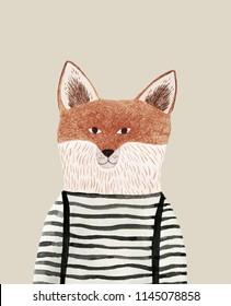fox pencil and watercolor drawing