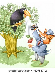 a fox tries a crow with a smart phone and manage to get the grapes symbol of worker cheated by master