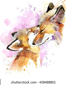 fox watercolor illustration. Mothers day card